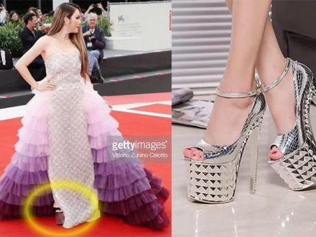 Hết Cannes, Lý Nhã Kỳ lại càn quét thảm đỏ Venice với váy tím mộng mơ và giày siêu cao