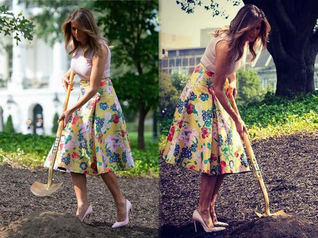 Phu nhân TT Donald Trump bị chê làm màu chọn giày cao lênh khênh... đi làm vườn