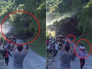 Núi lở kinh hoàng tại Sơn La, người dân hoảng sợ bỏ xe chạy thoát thân