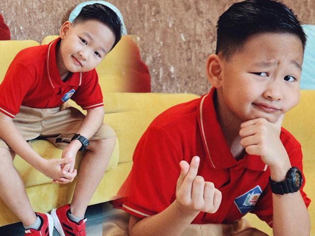 Con trai Bảo Thanh gây sốt vì tạo dáng sành điệu như soái ca ngày đầu năm học