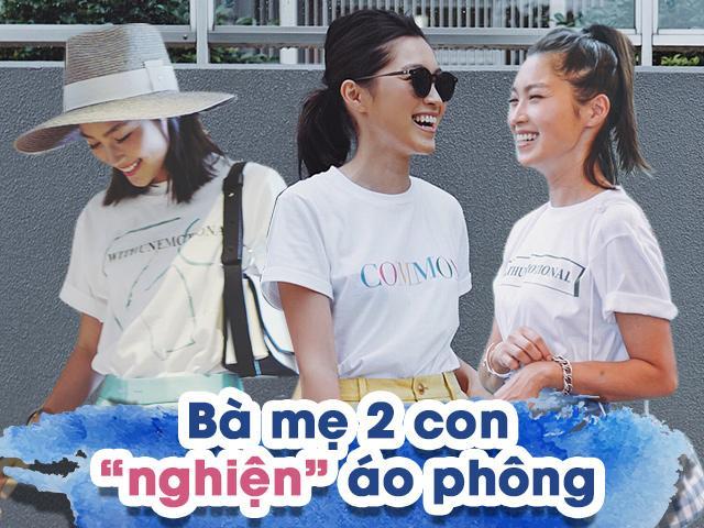Mẹ Nhật 2 con từ đông tới hè không rời áo phông, thiên biến vạn hóa kiểu nào cũng đẹp