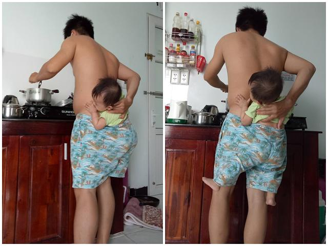 Vừa địu con bằng mông vừa nấu đồ ăn cho vợ, ông bố trẻ gây bão mạng xã hội