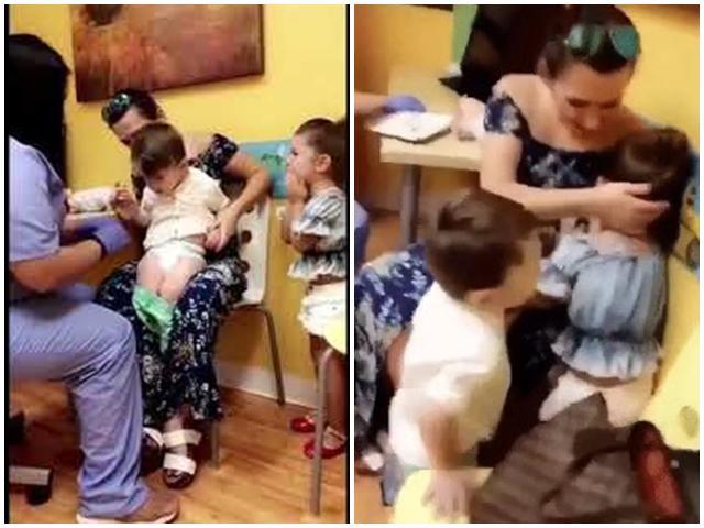 Bác sĩ tiêm cho bé trai, chị gái khóc cạn nước mắt còn em thì cười te tởn