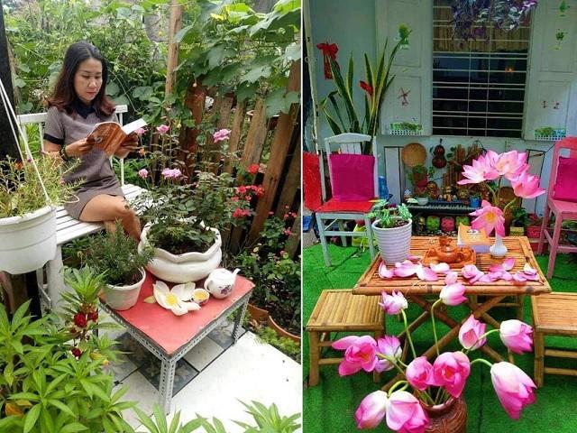 Ngắm khu vườn 200m² ngập hoa trái đẹp ngất ngây làm từ đồ dùng bỏ đi của mẹ Việt