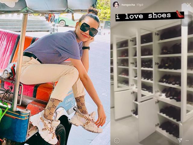 Hồ Ngọc Hà khoe tủ giày cao đến 7 tầng, phân loại chuẩn như shop thời trang