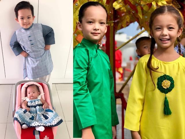 2 con Khánh Thi, cặp sinh đôi nhà Hồng Nhung xúng xính áo dài, đáng yêu đón Trung thu sớm