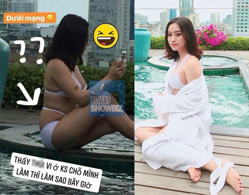 Thuý Vy từng bị bóc mẽlà photoshop ảnh quá đà, tuy dùng áo choáng che chắn nhưng bức ảnh cô bị chụp quá khác xa thực tế với bộ bikini ôm sát.