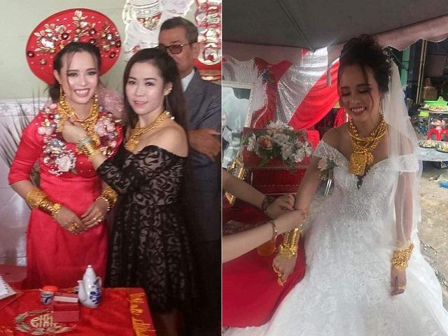 Cô dâu Hậu Giang gây choáng khi còng lưng đeo 129 cây vàng được trao làm của hồi môn