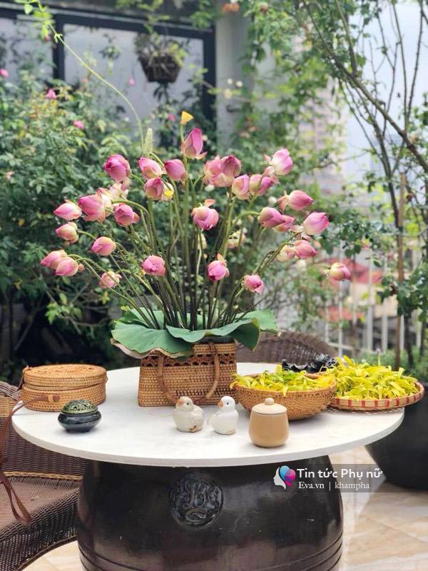 Chuyển hàng tấn đất làm ao sen, trồng hồng trên sân thượng, mẹ HN xây amp;#34;thiên đườngamp;#34; phủ kín hoa - 20