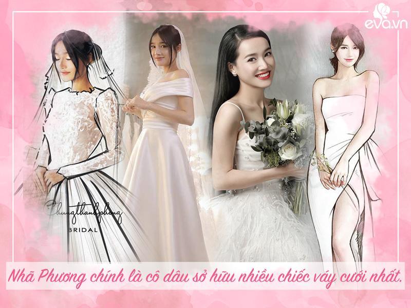 Nhã Phương chính là nàng dâu sở hữu nhiều chiếc váy cưới nhất, cô thay 3 mẫu váy đẹp như công chúa trong ngày cưới, và một chiếc váy ngắn diện trước đó cùng dép tổ ong cùng ông xã Trường Giang.