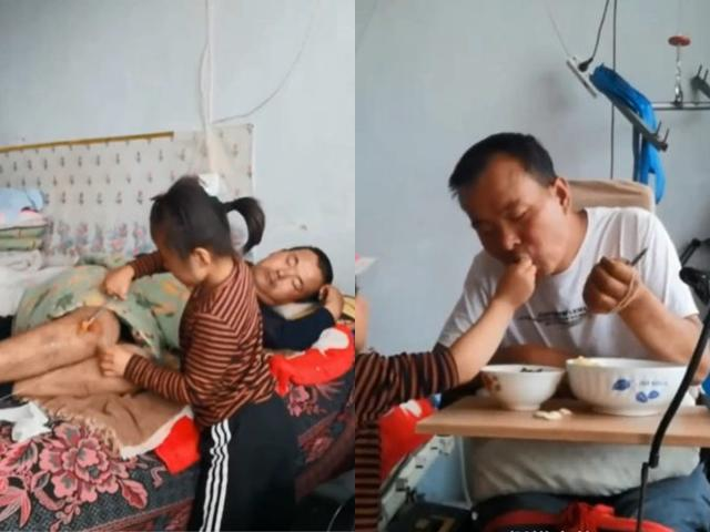Mẹ bỏ đi, bé gái 6 tuổi một mình chăm sóc bố tàn tật nhiều năm gây xúc động mạnh