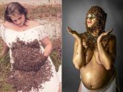 """Mẹ bầu từng  """" gây bão """"  với 20.000 con ong tiếp tục tung bộ ảnh khiến dân mạng rùng mình"""