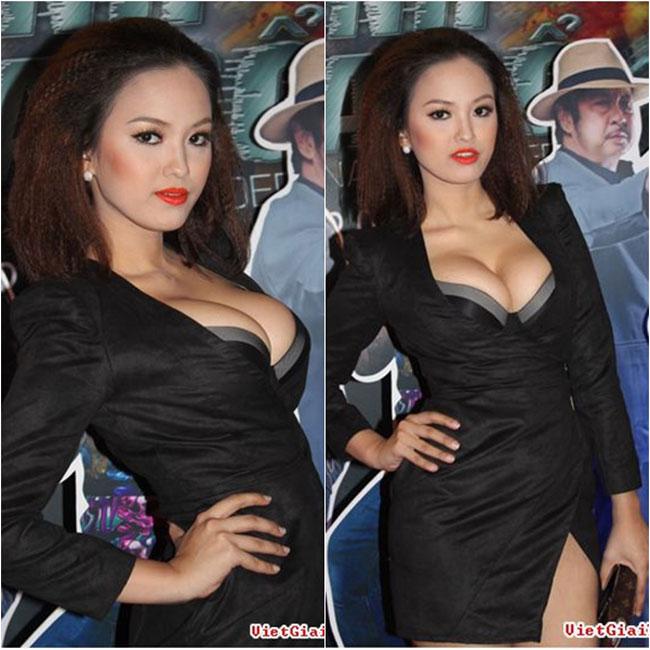 Người mẫu Hoàng Oanh từng gây sốc với vòng 1 'đồ sộ' và 'chật chội' một cách bất thường.