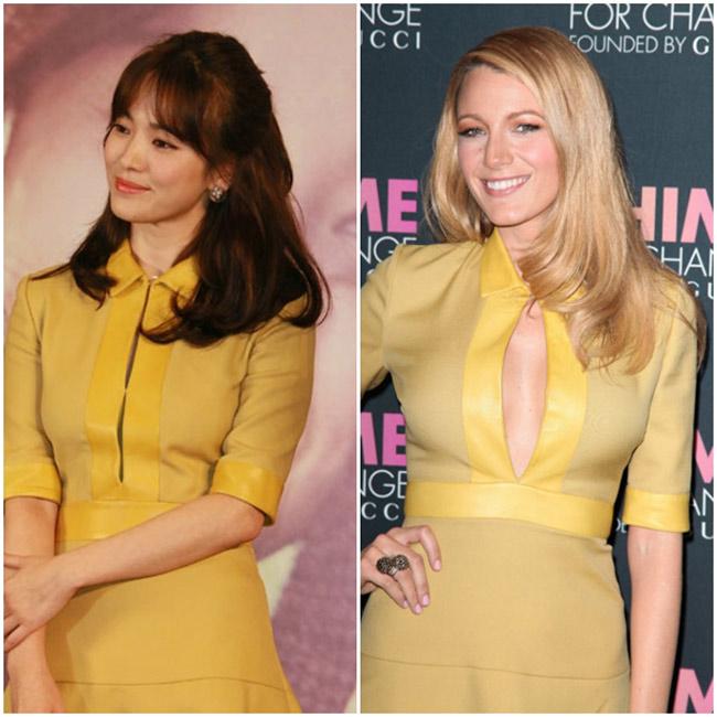 Cùng diện chiếc váy màu vàng với đường xẻ dọc từ cổ xuống thắt lưng của Gucci nhưng Song Hye Kyo và Blake Lively lại mang hai phong cách hoàn toàn trái ngược. Trong khi người đẹp xứ Kim Chi mặc kiểu váy này rất kín đáo thì Blake Lively lại khoe vòng 1 căng đầy dưới đường xẻ.