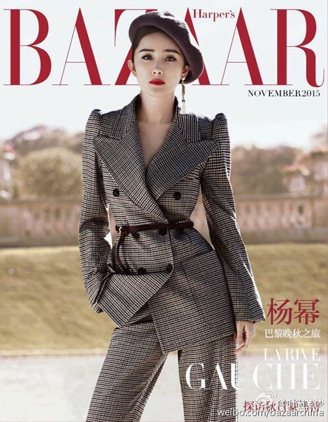 Bà mẹ một con Dương Mịch vô cùng sành điệu và phong cách trên tạp chí Harper's Bazaar số tháng 11/2015.