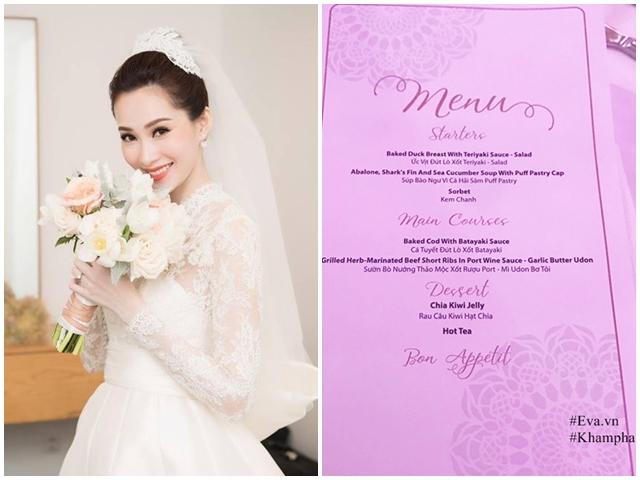Thực đơn cỗ cưới Hoa hậu Thu Thảo sang trọng với nhiều món đắt tiền