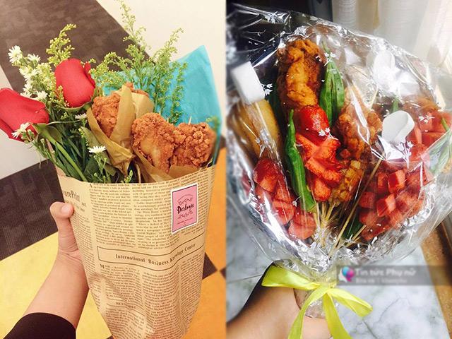 Chị em tủm tỉm tâm đắc với những bó hoa 20/10 phiên bản thức ăn siêu thiết thực