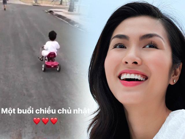 Sao Việt 24h: Con trai Tăng Thanh Hà lớn phổng phao, tự đạp xe quanh sân nhà