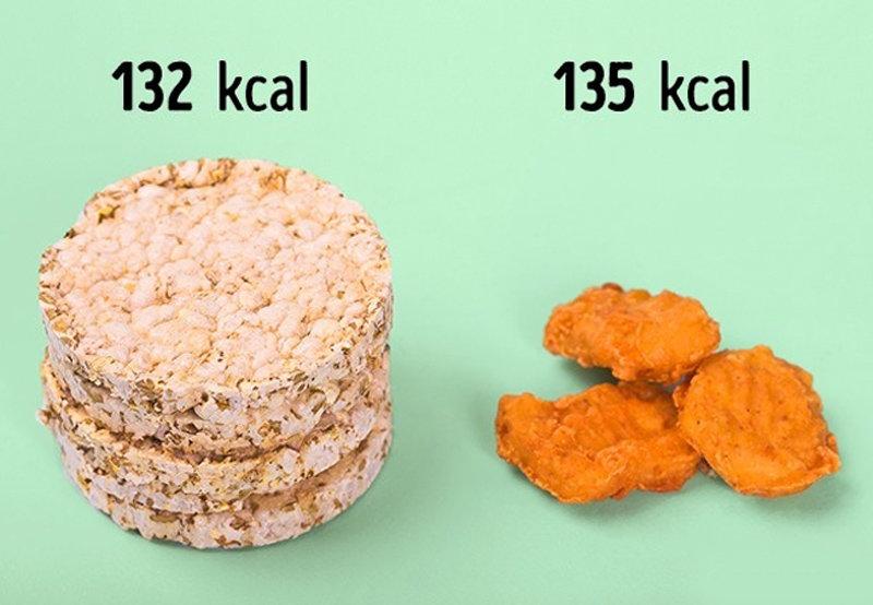 1/2 gói bánh gạo = 3 miếng thịt viên chiên