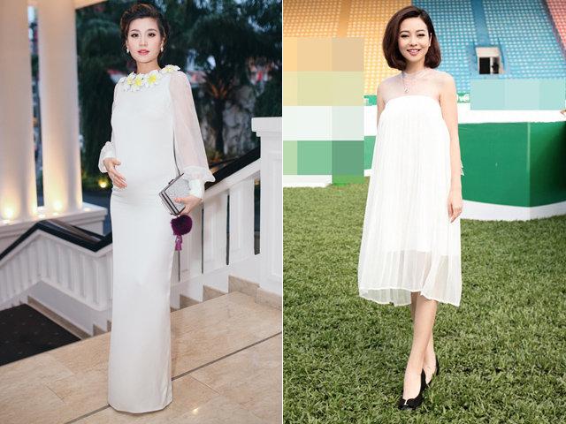 Học sao Việt diện những kiểu váy xinh lung linh cho mẹ bầu trong mùa cưới