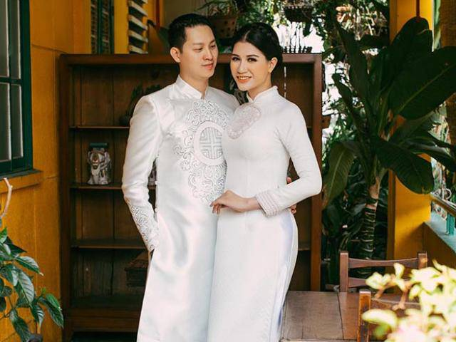Trang Trần e ấp, tình tứ bên ông xã Việt kiều trong bộ ảnh cưới
