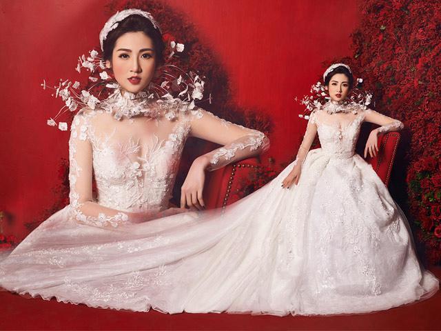 Chưa đám cưới, nhưng Á hậu Tú Anh đã được khoác lên mình chiếc váy cưới 3 tỷ