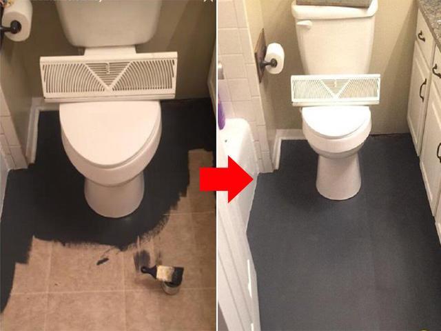 Mua sơn bôi đen sì sàn nhà tắm, bà mẹ khiến mọi người mê tít với thành quả bất ngờ