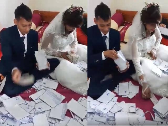 Màn đếm 250 phong bì toàn tiền lẻ gây bão mạng của cô dâu, chú rể