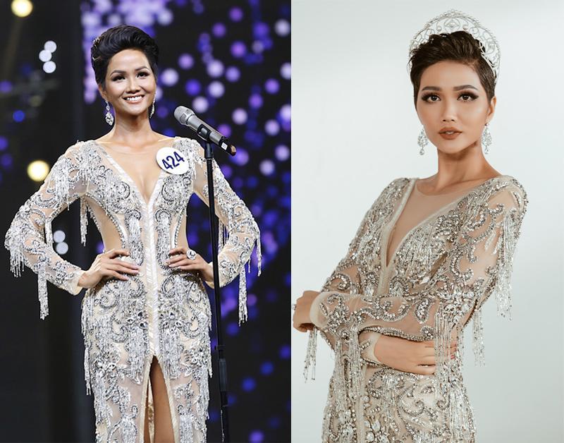 Hoa hậu H' Hen Niê được yêu bởi cuộc sống giản dị, gia cảnh khó khăn trước khi đăng quang. Cô từng chia sẻ hay mặc đồ hàng thùng trước đây, nên việc diện lại váy cũ với cô cùng không quá xa lạ.