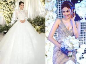 Soi những chi tiết khác biệt rất thú vị giữa váy cưới của Nhã Phương và Lan Khuê