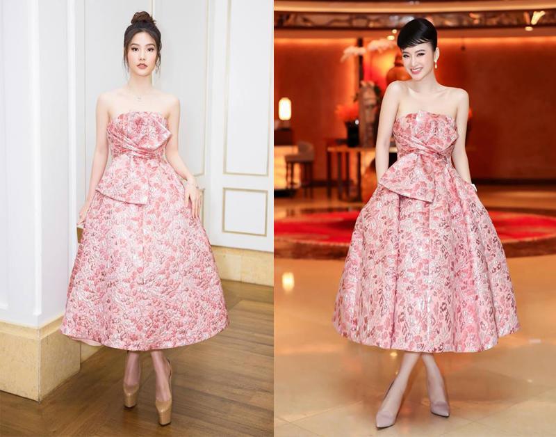 Diễm My 9X và Angela Phương Trinh, thựcsự bất phân thắng bại với thiết kế tông màu hồng ngọt ngào của NTK Đỗ Mạnh Cường. Được biết chiếc váy này có giá lên đến 90 triệu đồng.