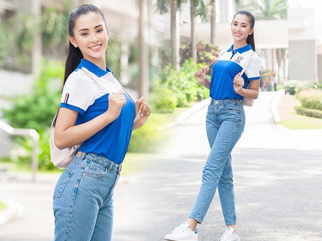 Ngày đầu tiên đi học, Hoa hậu Tiểu Vy xinh đẹp với đồng phục đúng chuẩn nữ sinh