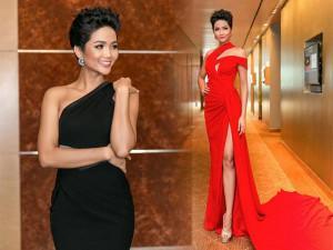 """Bất ngờ khi Hoa hậu H' Hen Niê biến đổi hai chiếc váy """"kiếp đỏ đen"""" nhanh như chớp"""