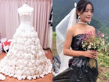 Việt Nam có váy cưới đính gấu bông nhưng vẫn thua váy làm từ nilong đựng rác của Trung Quốc