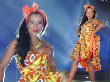 Hất váy quá mạnh, nàng Hoa hậu này đã bị lộ ngực trên sân khấu quốc tế