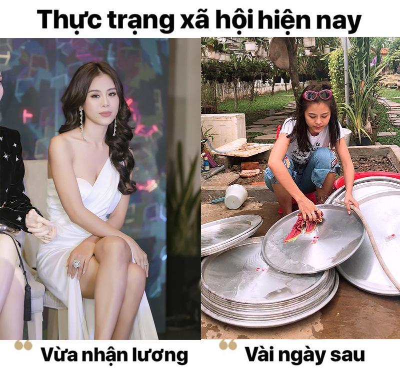"""Mới ngày đầu """"lãnh lương""""Nam Thư còn sang chảnh xuất hiện xinh đẹp như Hoa hậu, nhưng rồi cũng không thoát khỏi cảnh hết """"tiền lương"""" ăn mặc xuề xòa và đi rửa bát đây này."""