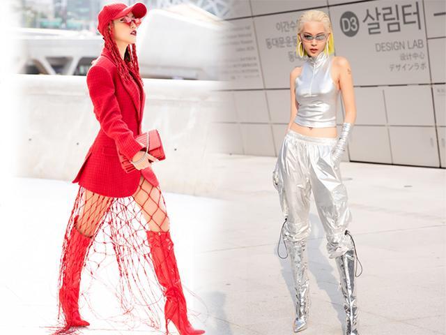 Á hậu Hoàng Oanh diện lưới bắt cá, Phí Phương Anh làm siêu nhân bạc ở Seoul Fashion Week?