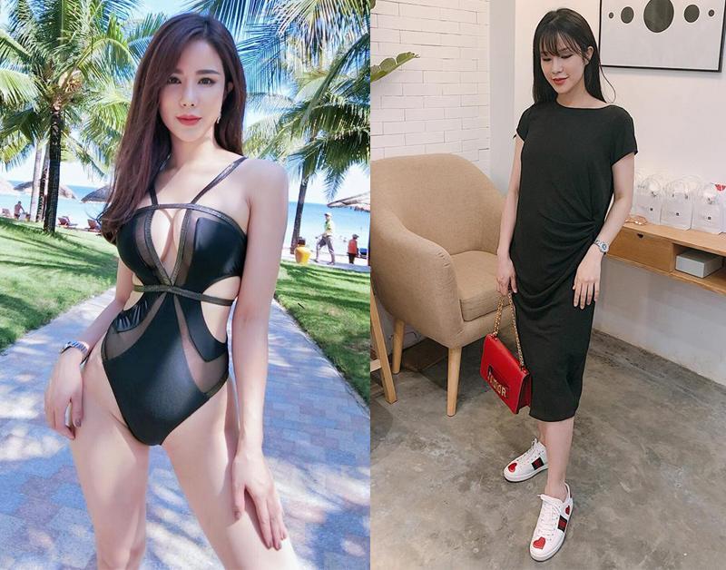 Diệp Lâm Anh lúc chưa có bầu cô đã sở hữu thân hình nóng bỏng, được phô diễn trong nhiều set đồ bikini cut out táo bạo và sang chảnh. Đến khi có thai, cô vẫn giữ tinh thần thời trang nhưng ăn mặc nền nã và mang tính thể thao nhiều hơn.