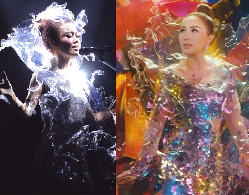Thiết kế trong suốt của Bảo Thy trong MV mới, được cho là phiên bản lỗi của chiếc váy 'Nước' mà Diva Hồng Kông Dung Tổ Nhi diện trongliveshow Number 6,chiếc váyHaute Couture nằm trong BSTS/S 09 củaIris Van Herpen.