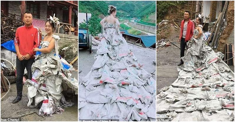 Một cô gái thôn quê người Trung Quốc gần đây đã khiến cư dân mạng sục sôi vì thiết kế ra một chiếc váy cưới tuyệt đẹp làm từ 40 bao tải xi măng còn sót lại sau khi sửa nhà.Tác phẩm này nhận nhiều sự chú ý từ cộng đồng mạng khi thu hút hàng triệu lượt xem.