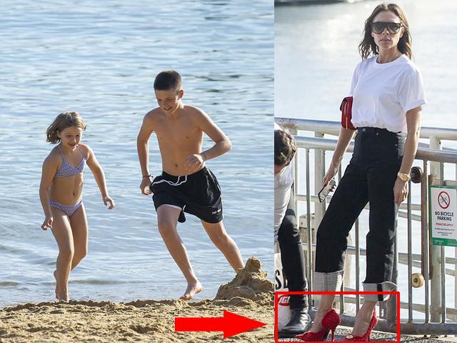 Chỉ vì diện giày cao gót khi đưa Harper và Cruz đi tắm biển, Victoria bị chỉ trích thậm tệ