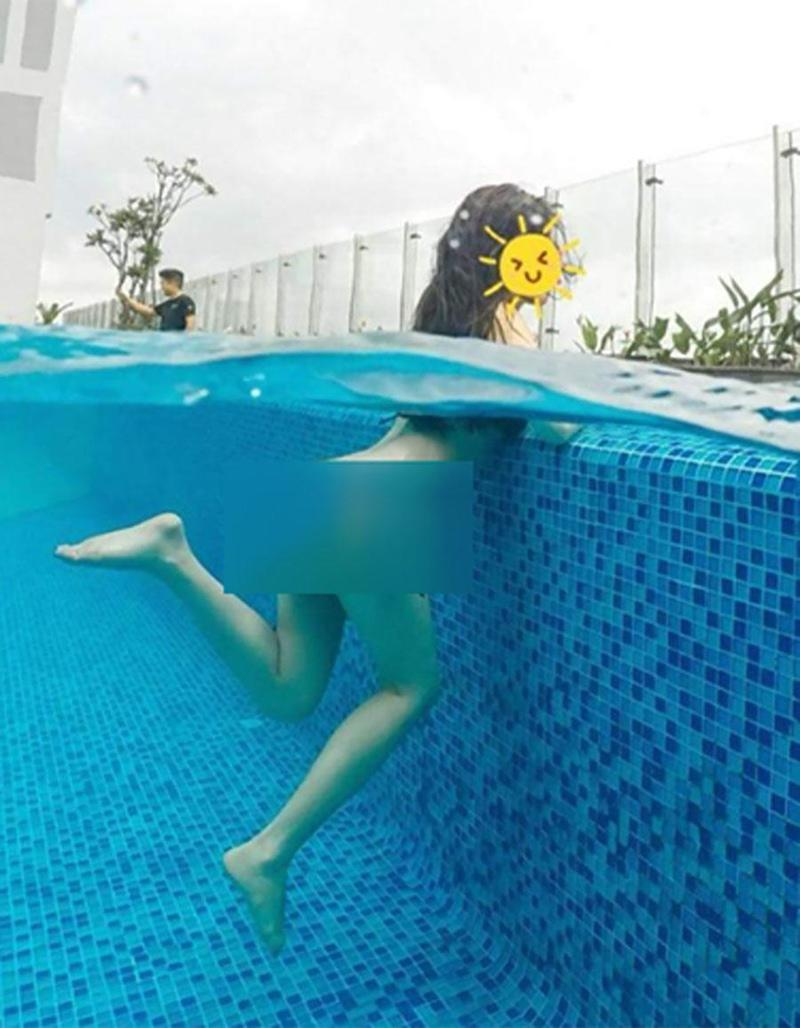 Thậm chí cô còn chụp ảnh bên dưới lộ rõ việc nude hoàn toàn khi ngâm mình dưới nước. Loạt ảnh của Hồng Quế nhanh chóng tạo bình luận sôi nổi của cư dân mạng.