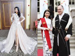 """13 tuổi """"uống sữa thay nước"""" cao 1m75, Hoa hậu Hoàn vũ nhí Việt được Hoàng gia Georgia phong tước"""