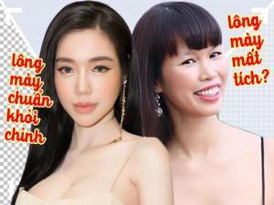 """Elly Trần trở lại với lông mày đích thực, trong khi đó lông mày Hà Anh bỏ chủ """"đi chơi"""""""