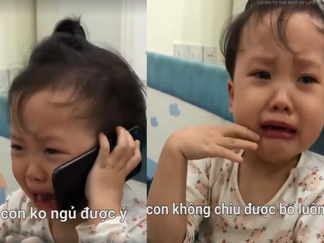 Bị bố trêu quá đáng, em bé nước mắt tèm lem, gọi điện... mách ông