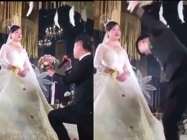 Cô dâu trơ như tượng khi chú rể quỳ tặng hoa cưới, lý do khiến ai cũng sững sờ