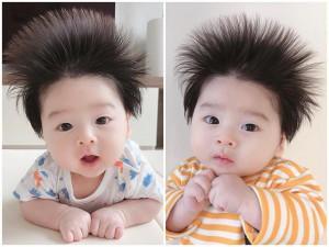 Bé trai tóc điện giật khiến mẹ nào cũng muốn nhận con nuôi, ảnh lúc mới sinh gây choáng