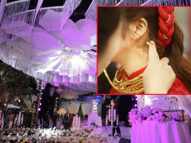 Choáng với số vàng nặng trĩu cô dâu đeo trong đám cưới chi 2,5 tỷ tiền bắc rạp
