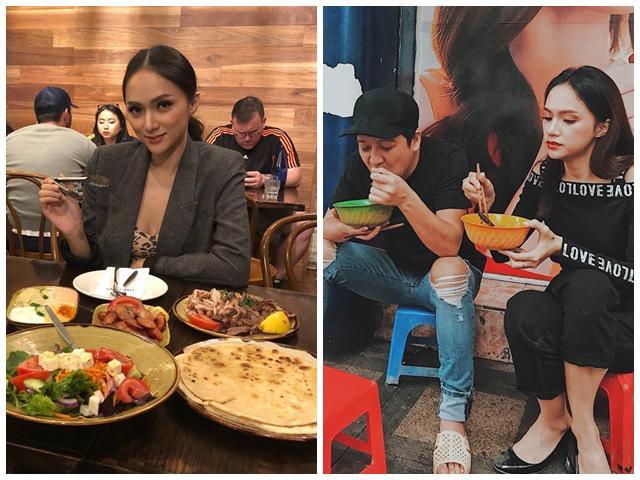 Lúc ăn sang chảnh, khi ngồi vỉa hè húp bún với Trường Giang, HH Hương Giang khiến fan kinh ngạc