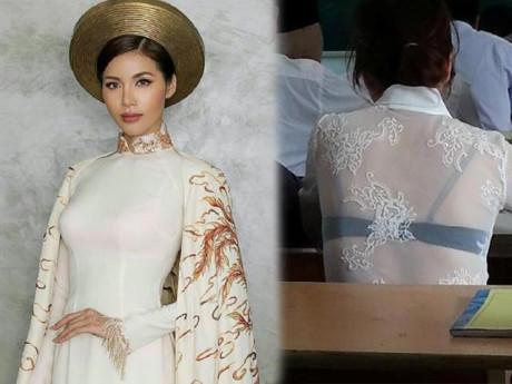 """""""Chân dài sexy nhất Việt Nam"""" mắc thảm họa nội y thường thấy với áo dài trắng"""